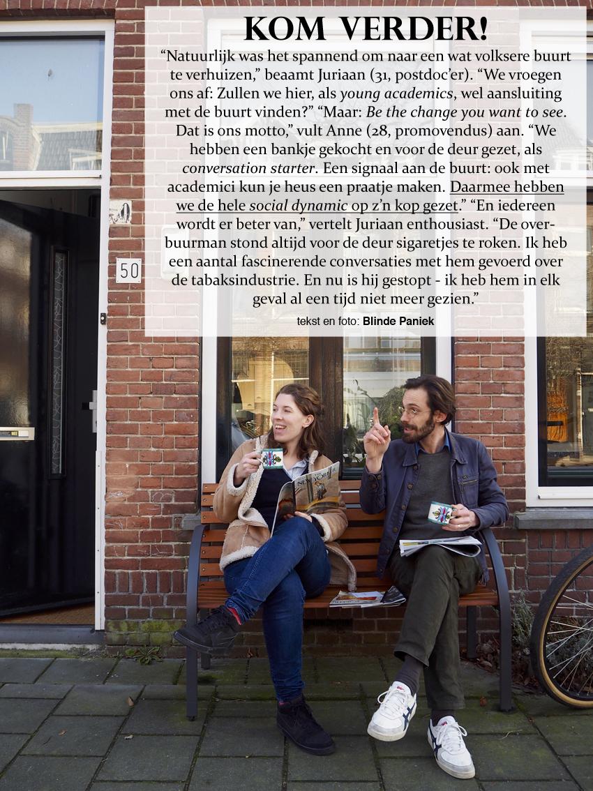 Kom Verder! young ademics plaatsen een bankje voor de deur als conversation starter en zetten daarmee de hele social dynamic op z'n kop