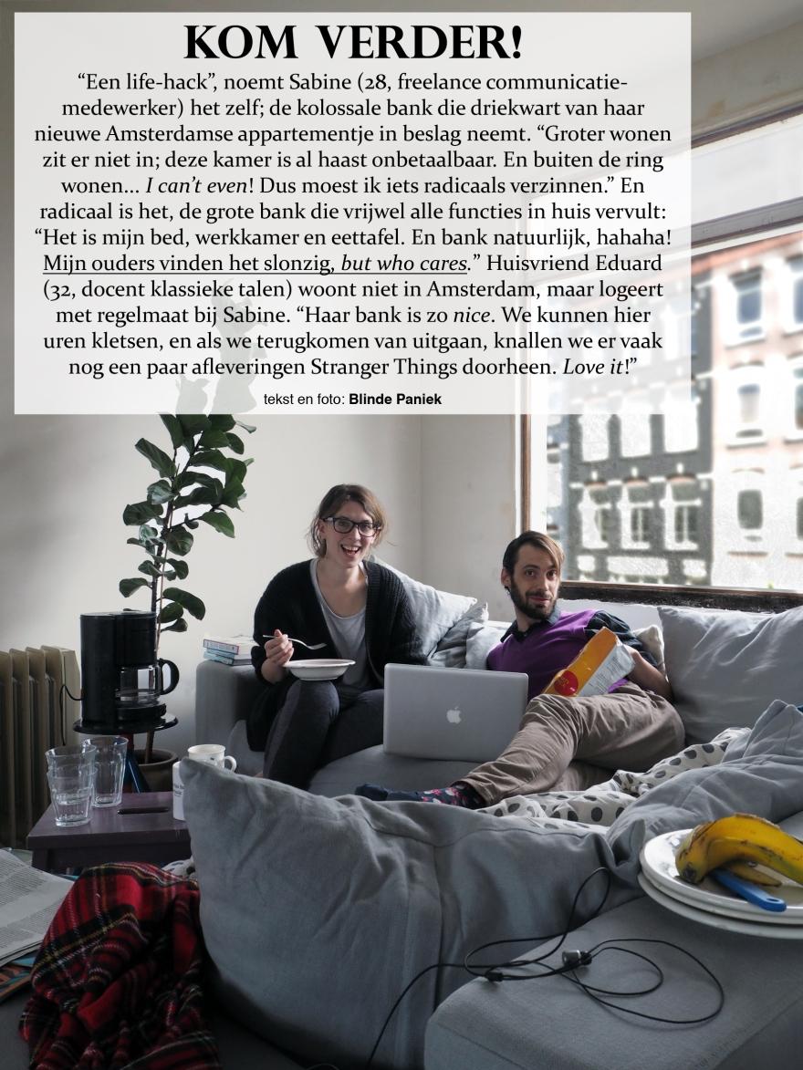 Kom Verder! Sabine en Frank leefbank klein amsterdams appartement