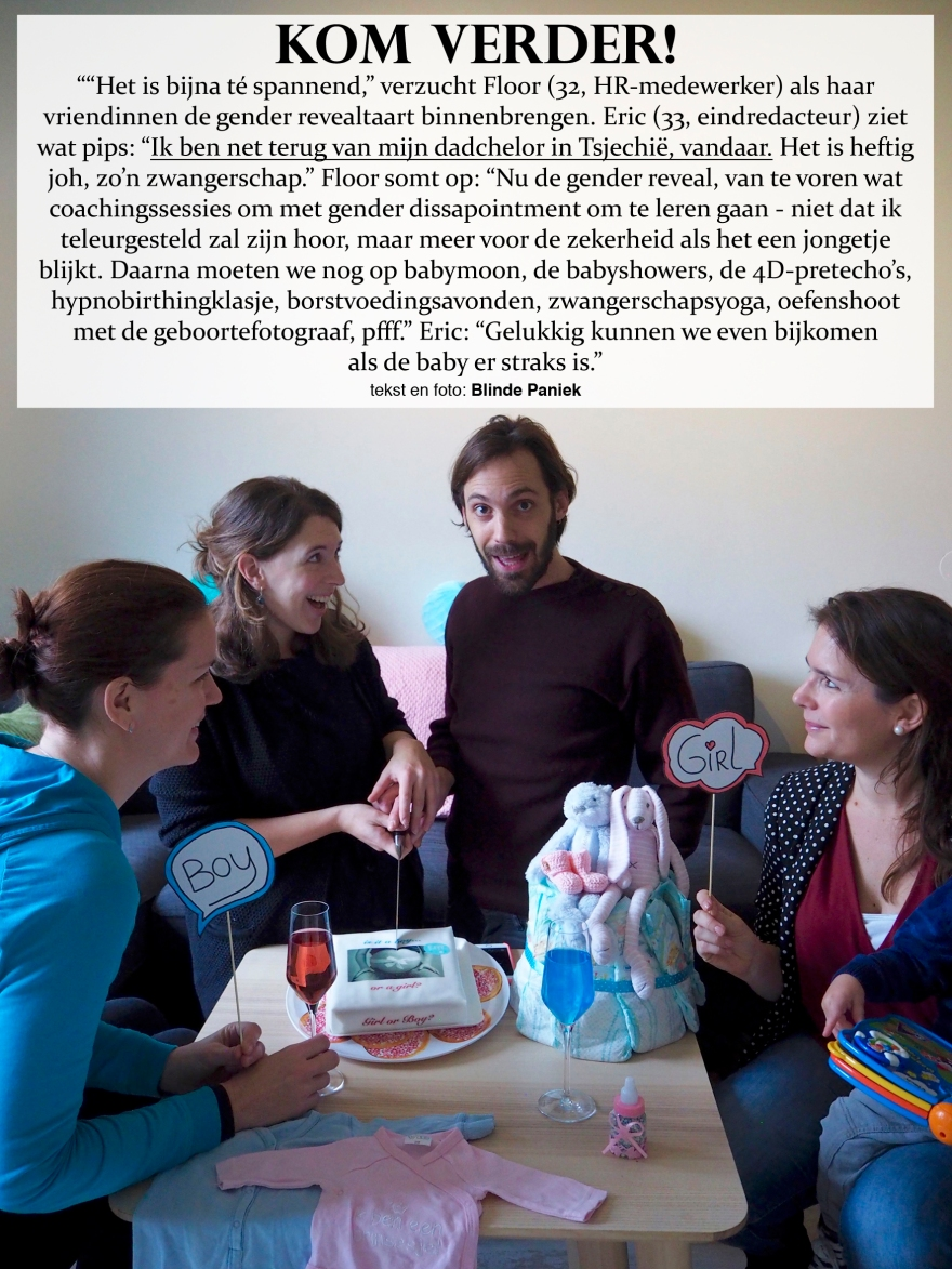 Kom Verder Floor en Eric gender reveal party taart dadchelor babymoon